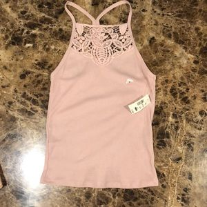 Rose color Razorback tank with lace detailing